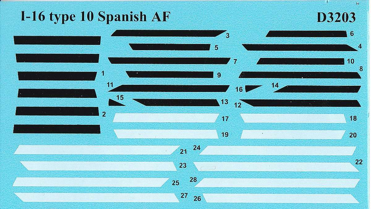 ICM-D3203-I-16-Type-10-Spanish-AF-6 I-16 Type 10 Spanish Airforce Decals in 1:32 # ICM D3203