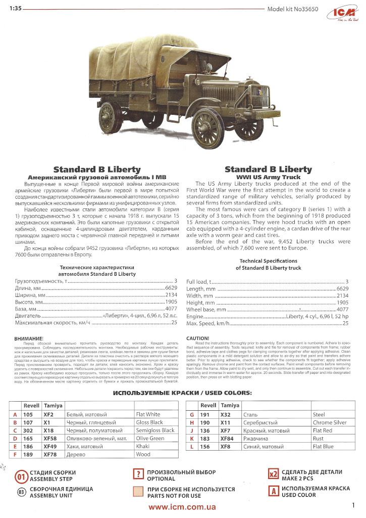 """Anleitung04 Standard B """"Liberty"""" with WW I US Infantry 1:35 ICM # 35652"""