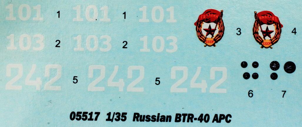 Decals Russian BTR-40 APC 1:35 Trumpeter (#05517)