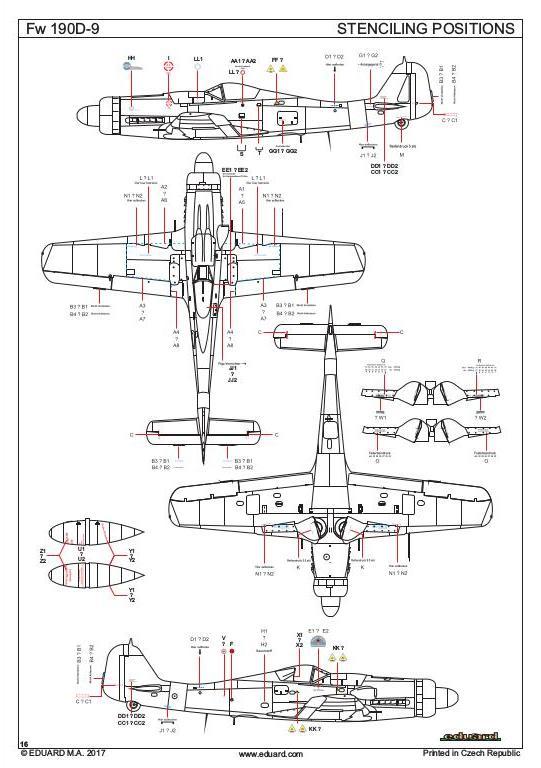 Eduard-8184-FW-190-D-9-Stenciling-Positions Focke Wulf FW 190 D-9 von Eduard # 8184