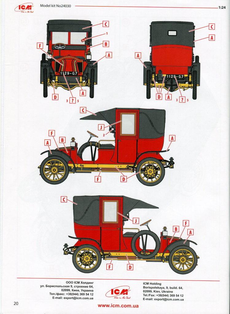 Review_ICM_Renault_AG-1_Taxi_44 Renault AG-1 1910 Paris Taxi - ICM 1/24