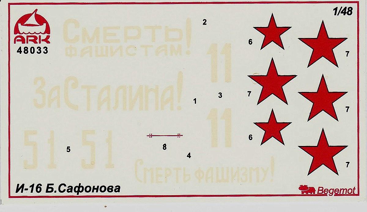ARK-Model-48033-Polikarpov-I-16-Typ-24-Decals Polikarpov I-16 Typ 24 in 1:48 von ARK Models # 48033