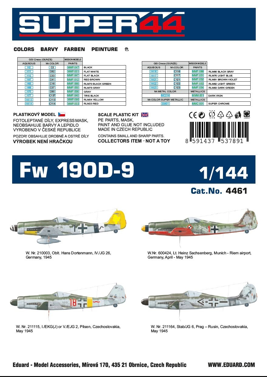 Eduard-4461-Fw-190-D-9-1 Focke Wulf FW 190 D-9 in 1:144 von Eduard # 4461