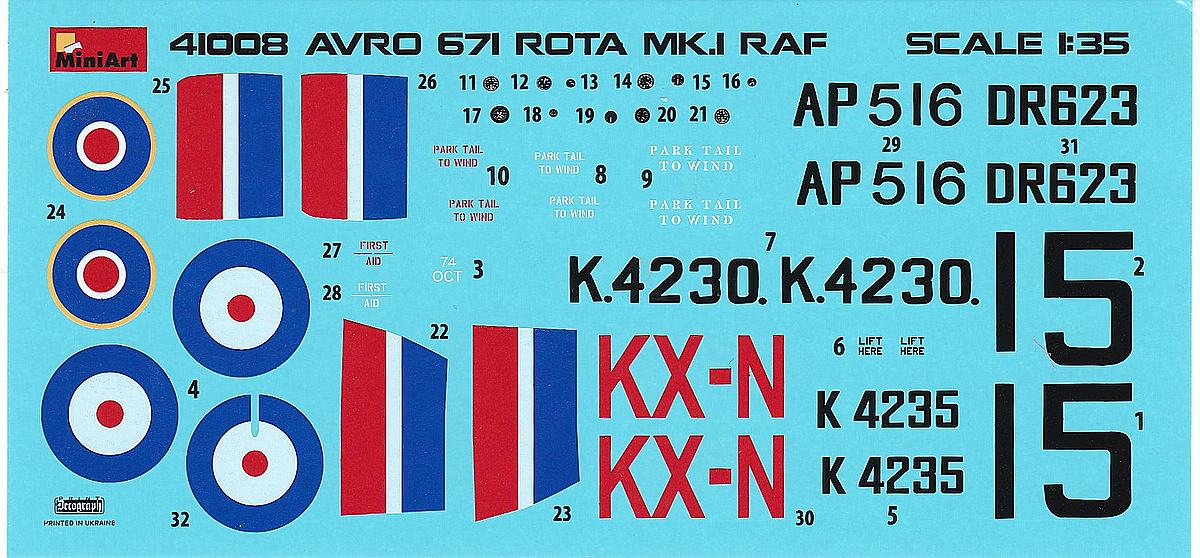 MiniArt-41008-Avro-671-Rota-Mk.-I-RAF-Decals Avro 671 Rota Mk. I RAF in 1:35 von MiniArt # 41008