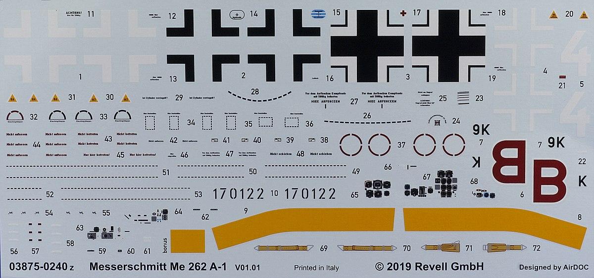 Revell-03875-Me-262-A1-Decals Messerschmitt Me 262 A-1/A-2 in 1:32 von Revell # 03875