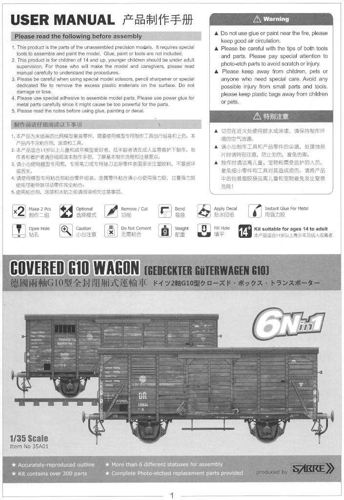 Anleitung01-1 Gedeckter Güterwagen G10 (6in1) - Red Cross 1:35 Sabre Model (35A01-RCSP)