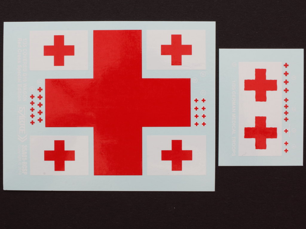 Decals-3 Gedeckter Güterwagen G10 (6in1) - Red Cross 1:35 Sabre Model (35A01-RCSP)