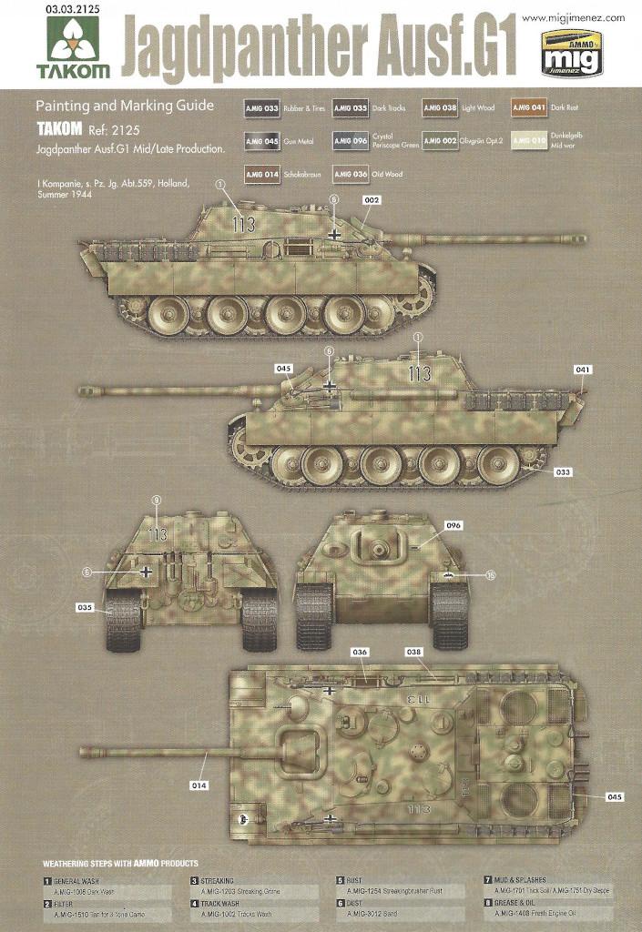 Markierung02 Jagdpanther G1 Early Production w/Zimmerit & Schwerer Plattformwagen Type SSys 1:35 Takom (2125X)