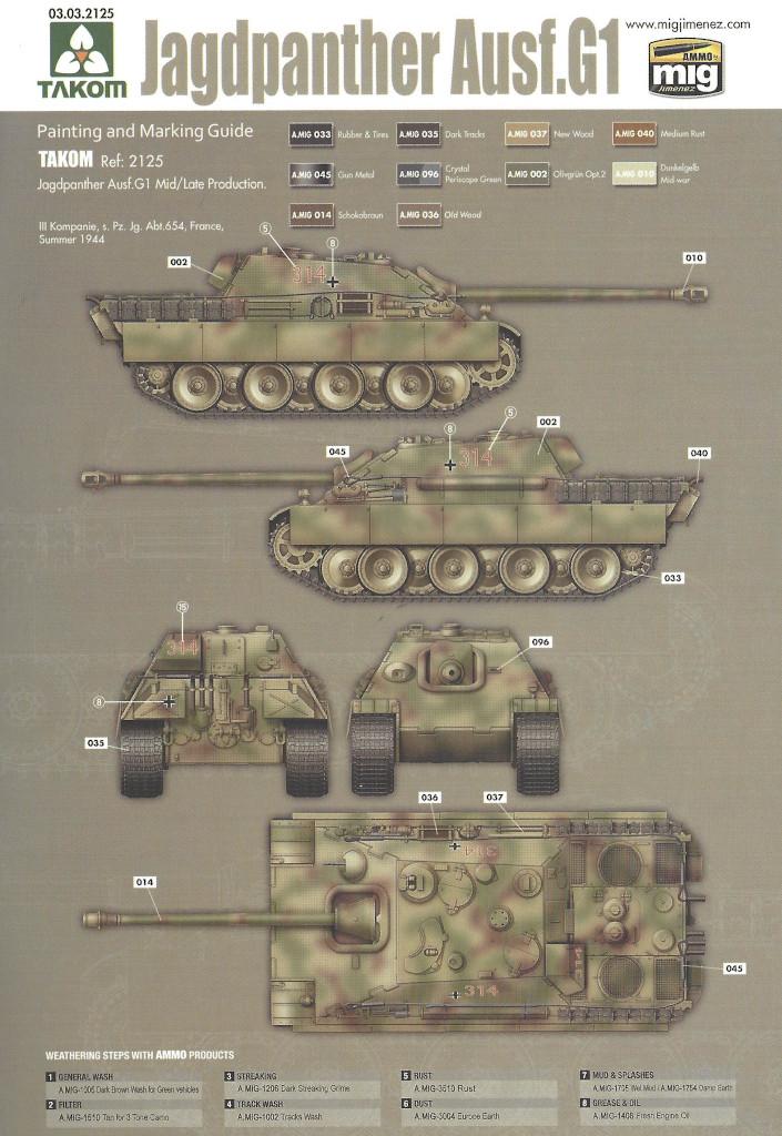 Markierung03 Jagdpanther G1 Early Production w/Zimmerit & Schwerer Plattformwagen Type SSys 1:35 Takom (2125X)