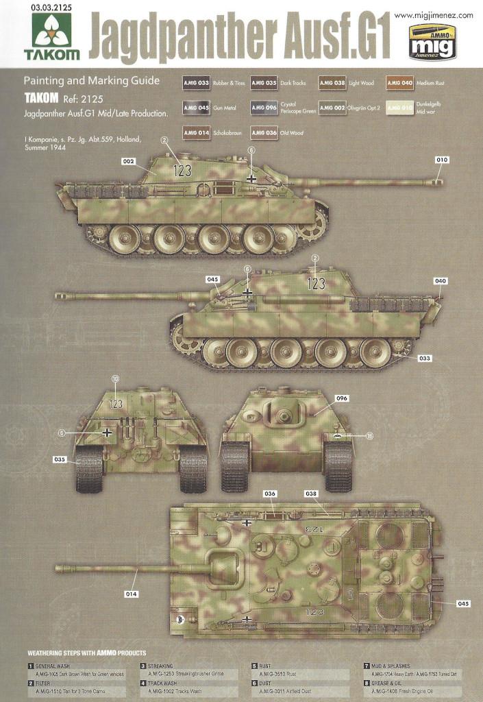 Markierung04 Jagdpanther G1 Early Production w/Zimmerit & Schwerer Plattformwagen Type SSys 1:35 Takom (2125X)