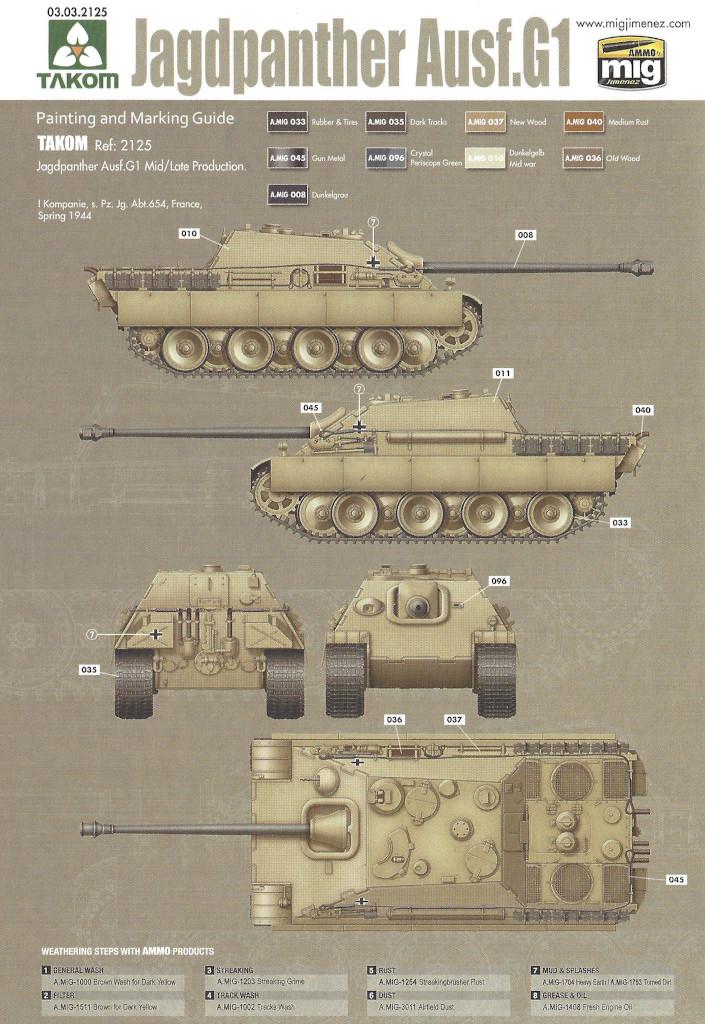 Markierung05 Jagdpanther G1 Early Production w/Zimmerit & Schwerer Plattformwagen Type SSys 1:35 Takom (2125X)
