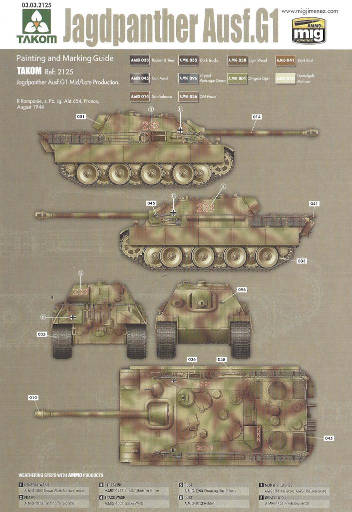 Markierung06 Jagdpanther G1 Early Production w/Zimmerit & Schwerer Plattformwagen Type SSys 1:35 Takom (2125X)