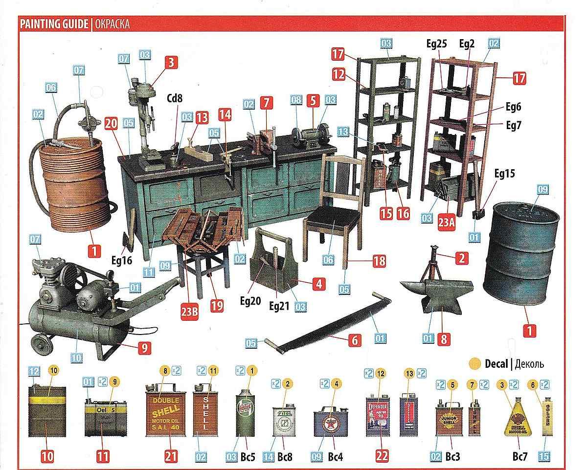 MiniArt-35596-Garage-Workshop-3 Garage Workshop in 1.35 von MiniArt #35596