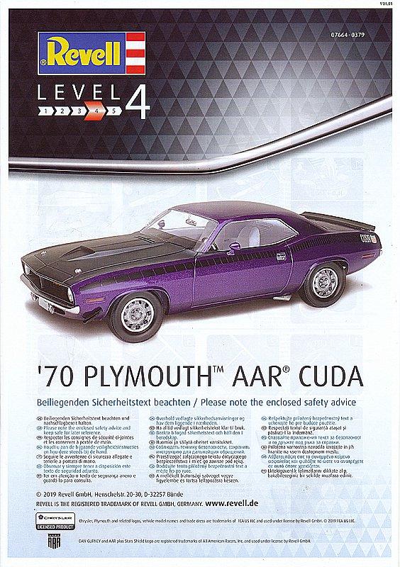 Revell-07664-Plymouth-AAR-CUDA-1970-2 Plymouth AAR CUDA 1970 in 1:25 von Revell # 07664