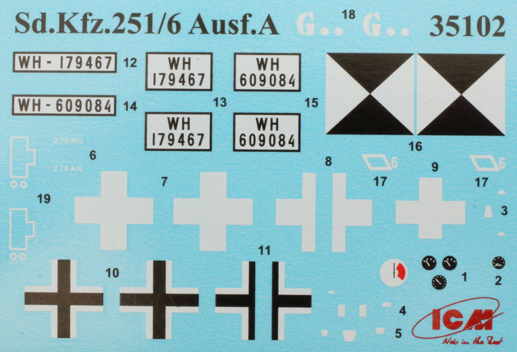 Decals-1 Sd.Kfz.251/6 Ausf. A with crew 1:35 ICM (#35104 )