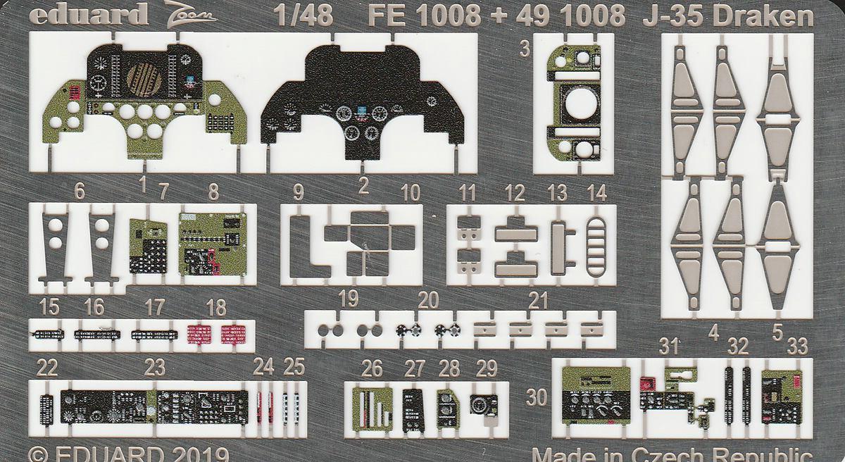 Eduard-FE-1008-Saab-Draken-ZOOM-2 Detailsets für die Saab J35 Draken in 1:48 von Eduard