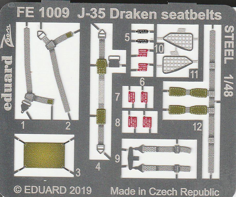 Eduard-FE-1009-Saab-Draken-Seatbelts-STEEL-2 Detailsets für die Saab J35 Draken in 1:48 von Eduard