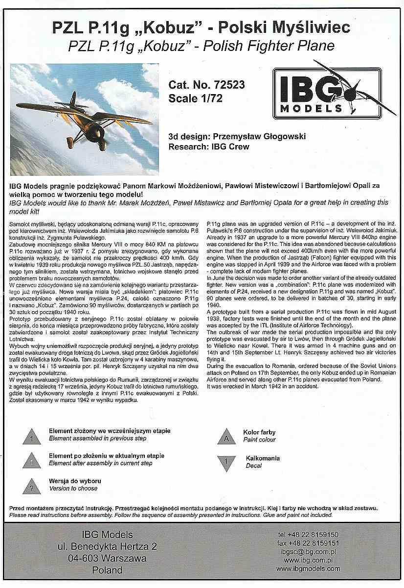 IBG-73523-PZL-P.11g-KOBUZ-5 PZL P.11g KOBUZ in 1:72 von IBG #72523