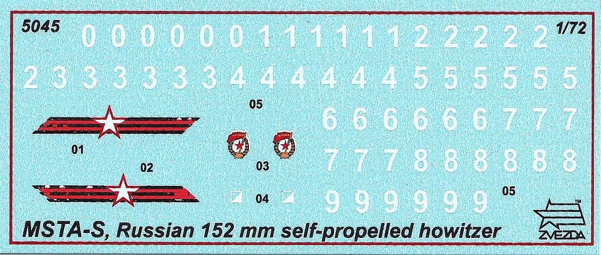 Zvezda-5045-MSTA-S-152mm-Haubitze-Decals MSTA-S 152mm Selbstfahrhaubitze in 1:72 von Zvezda #5045