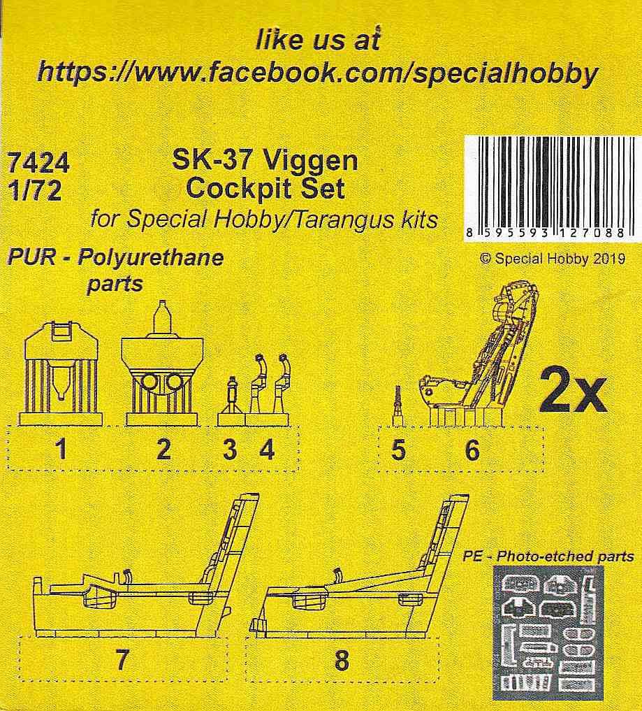 CMK-7424-Sk-37-Viggen-Cockpit-Set-2 Sk-37 Viggen Cockpit Set in 1:72 von CMK # 7424