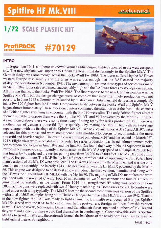 Eduard-70129-Spitfire-Mk-VIII_Eduard_Plan-01-1 Spitfire HF Mk.VIII in 1:72 PROFIPACK von EDUARD #70129