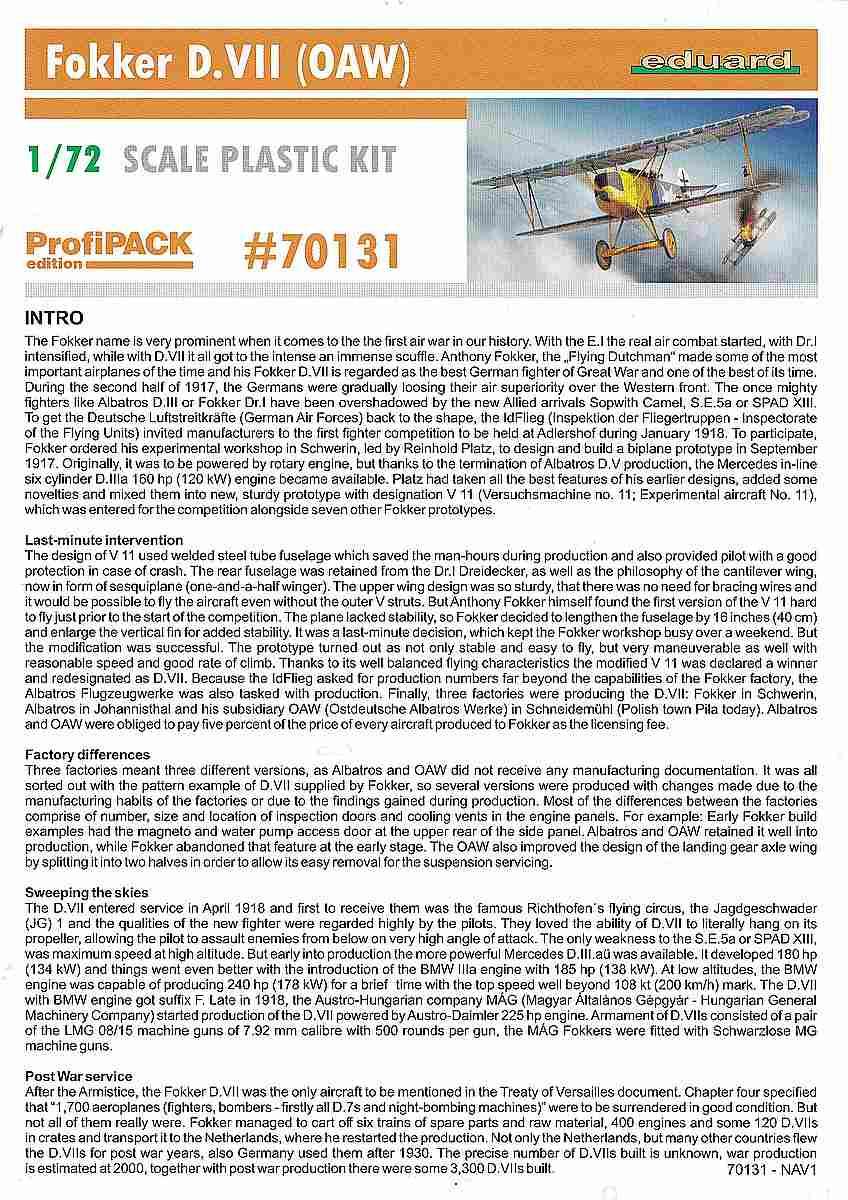 Eduard-70131-Fokker-D.VII-OAW-ProfiPack-Bauanleitung-Titelblatt Fokker D. VII (OAW) in 1:72 von Eduard # 70131