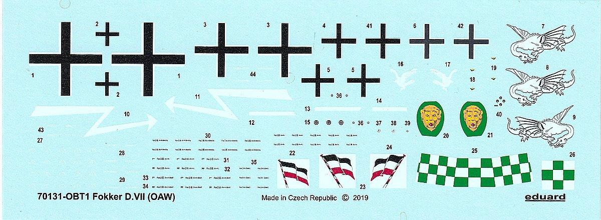Eduard-70131-Fokker-D.VII-OAW-ProfiPack-Decals-1 Fokker D. VII (OAW) in 1:72 von Eduard # 70131