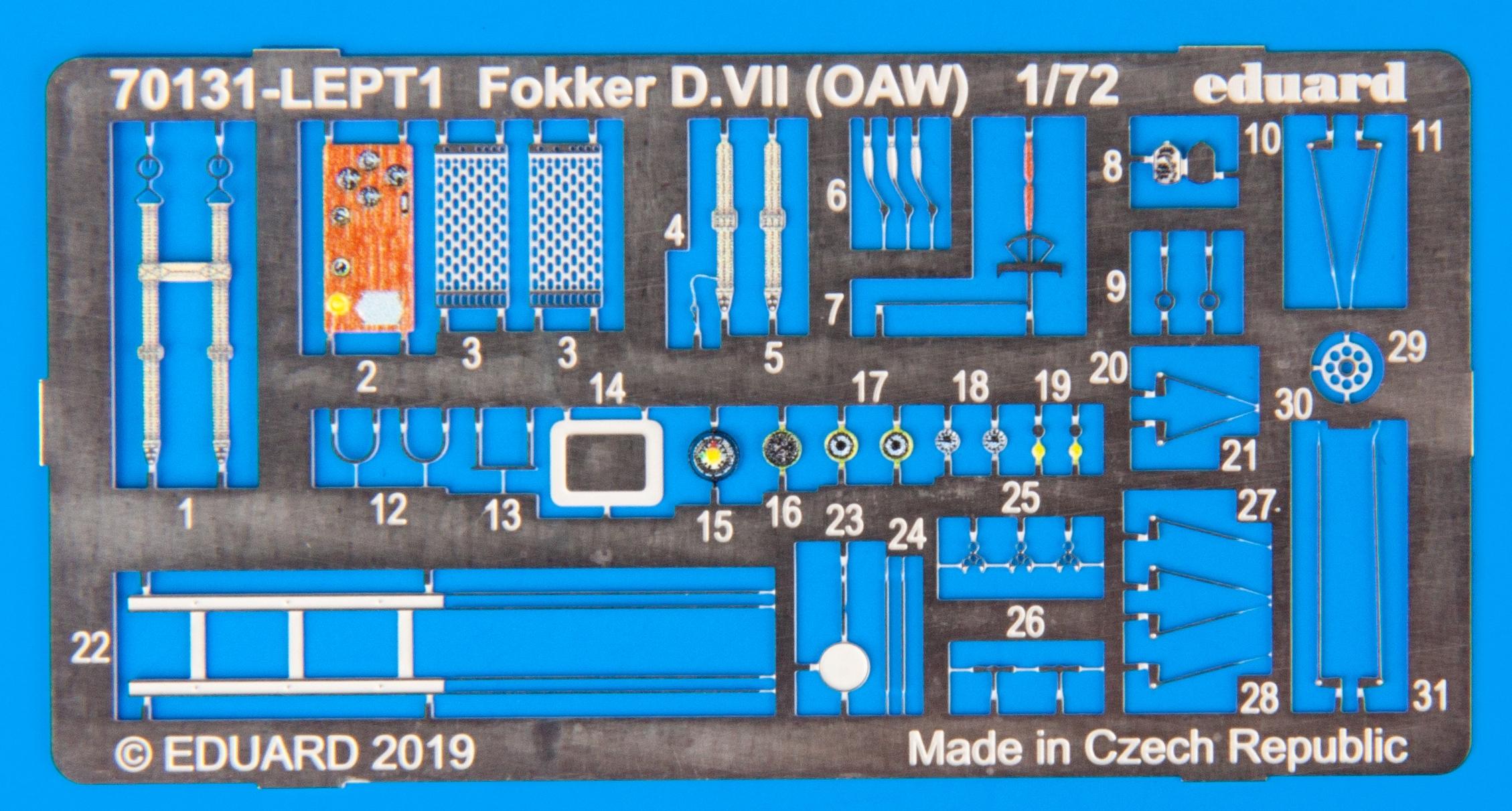 Eduard-70131-Fokker-D.VII-OAW-ProfiPack-Photoätzteile Fokker D. VII (OAW) in 1:72 von Eduard # 70131