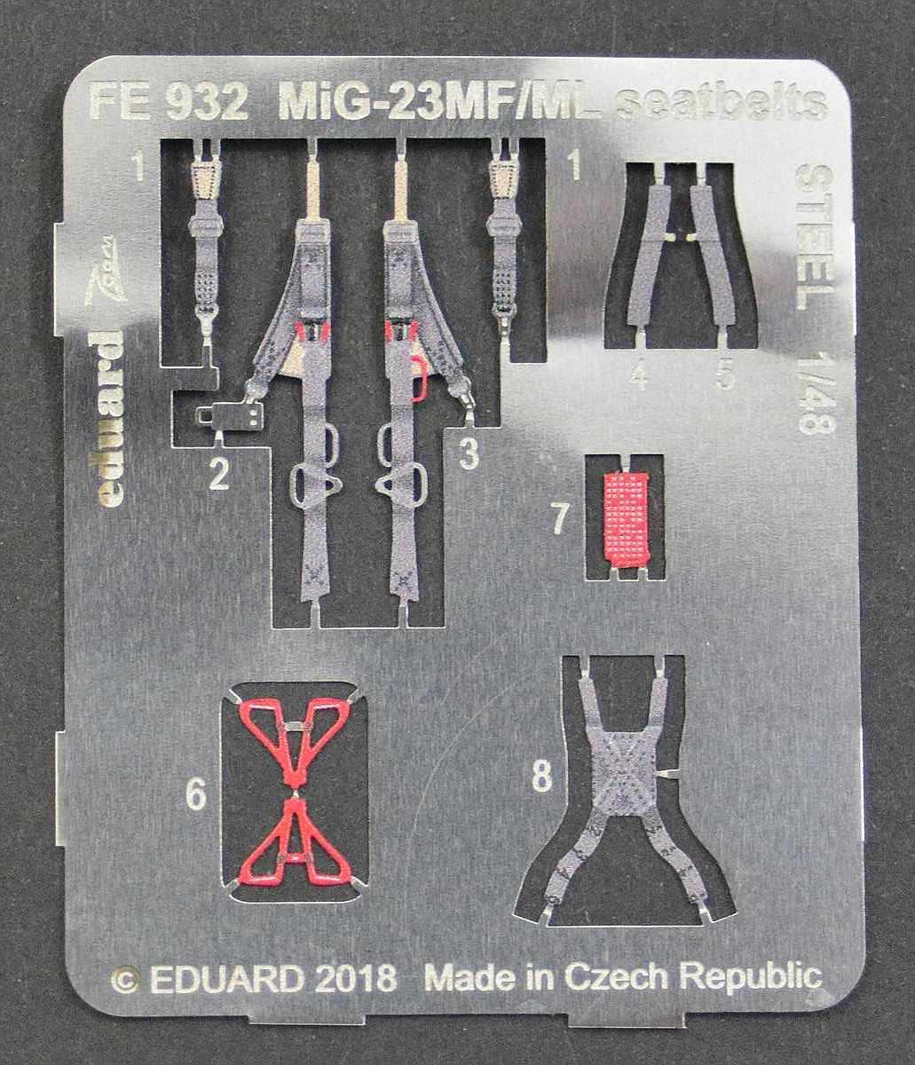 Eduard-FE-932-MiG-23-MF-seatbelts-STEEL-2 Detailsets für die MiG-23 MF / ML in 1:48 von Eduard