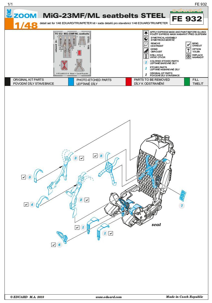 Eduard-FE-932-MiG-23-MF-seatbelts-STEEL Detailsets für die MiG-23 MF / ML in 1:48 von Eduard