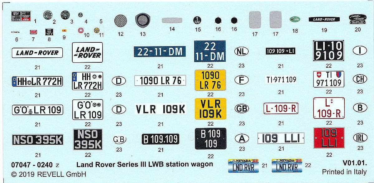 Revell-07047-LAndrover-Series-III-Decals Landrover III LWB in 1:24 von Revell # 07047