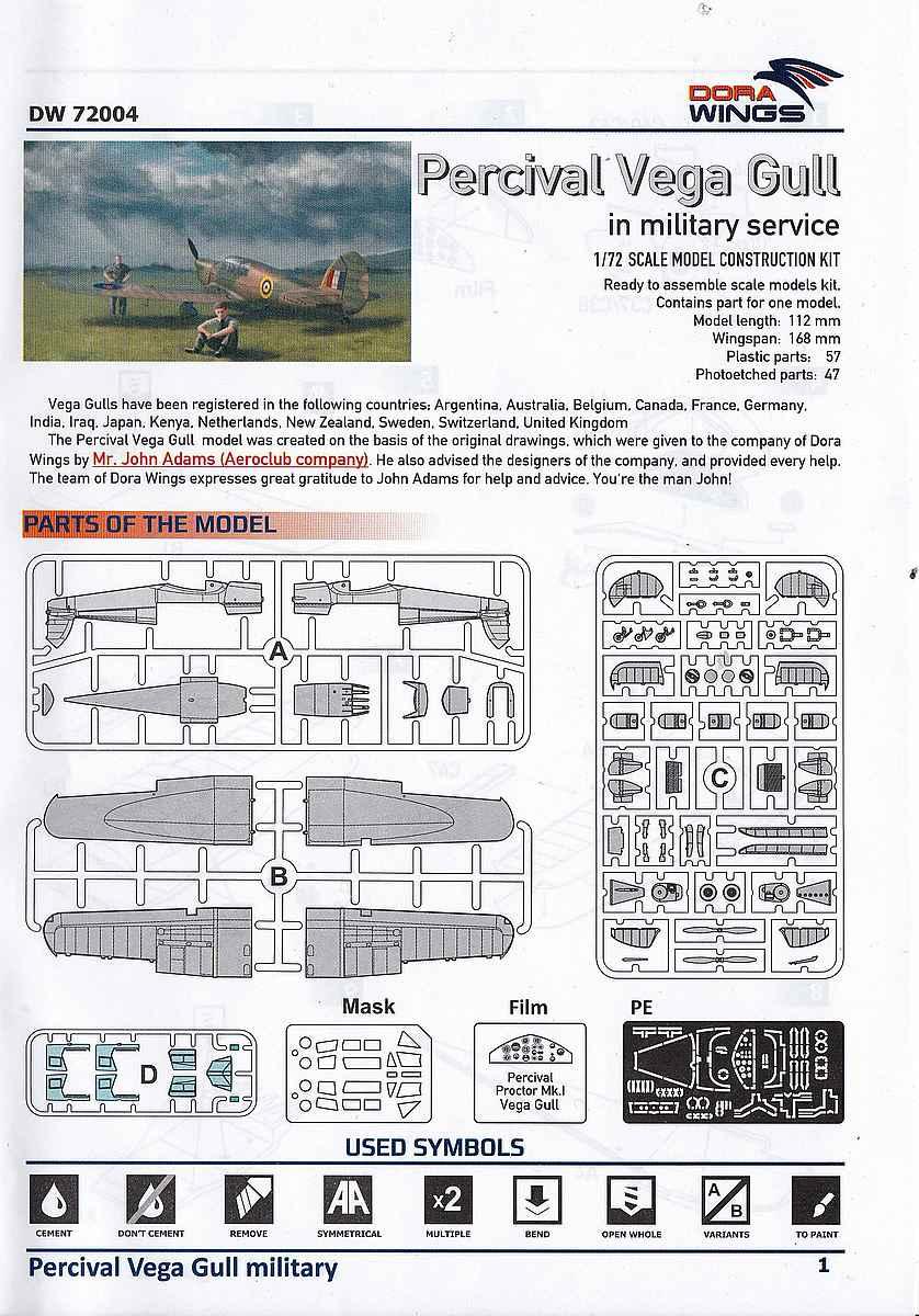 DoraWings-DW-72004-Percival-Vega-Gull-1 Percival Vega Gull in Military Service in 1:72 von DoraWings #DW 72007