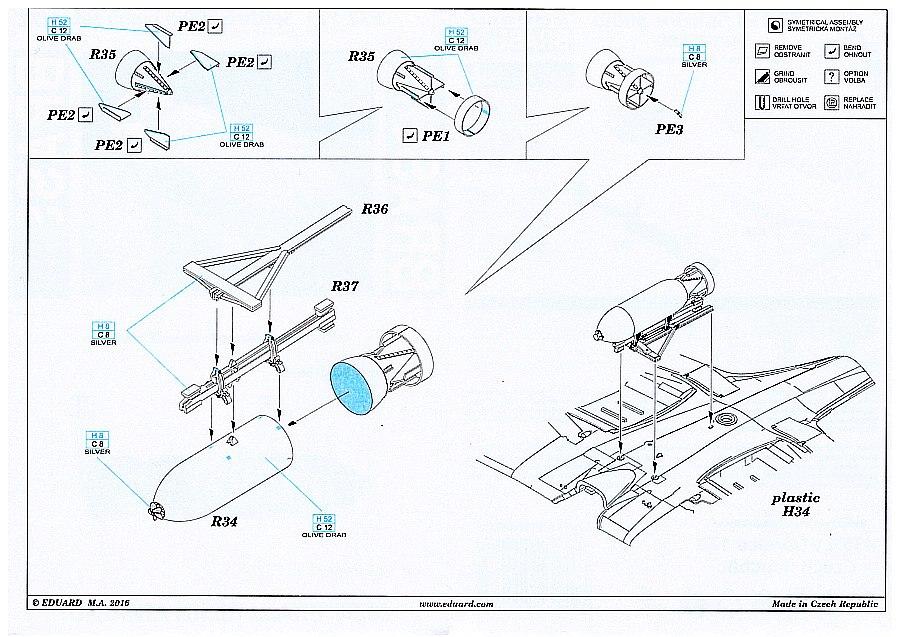 Eduard_672121-Spitfire-500-lbs-Bomb-_Plan Spitfire Drop Tank und 500lbs Bomb in 1:72 von Eduard # 672121 und 672122