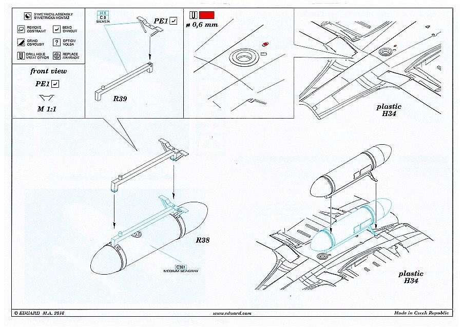 Eduard_672122_Spitfire-DRop-Tank-Plan Spitfire Drop Tank und 500lbs Bomb in 1:72 von Eduard # 672121 und 672122