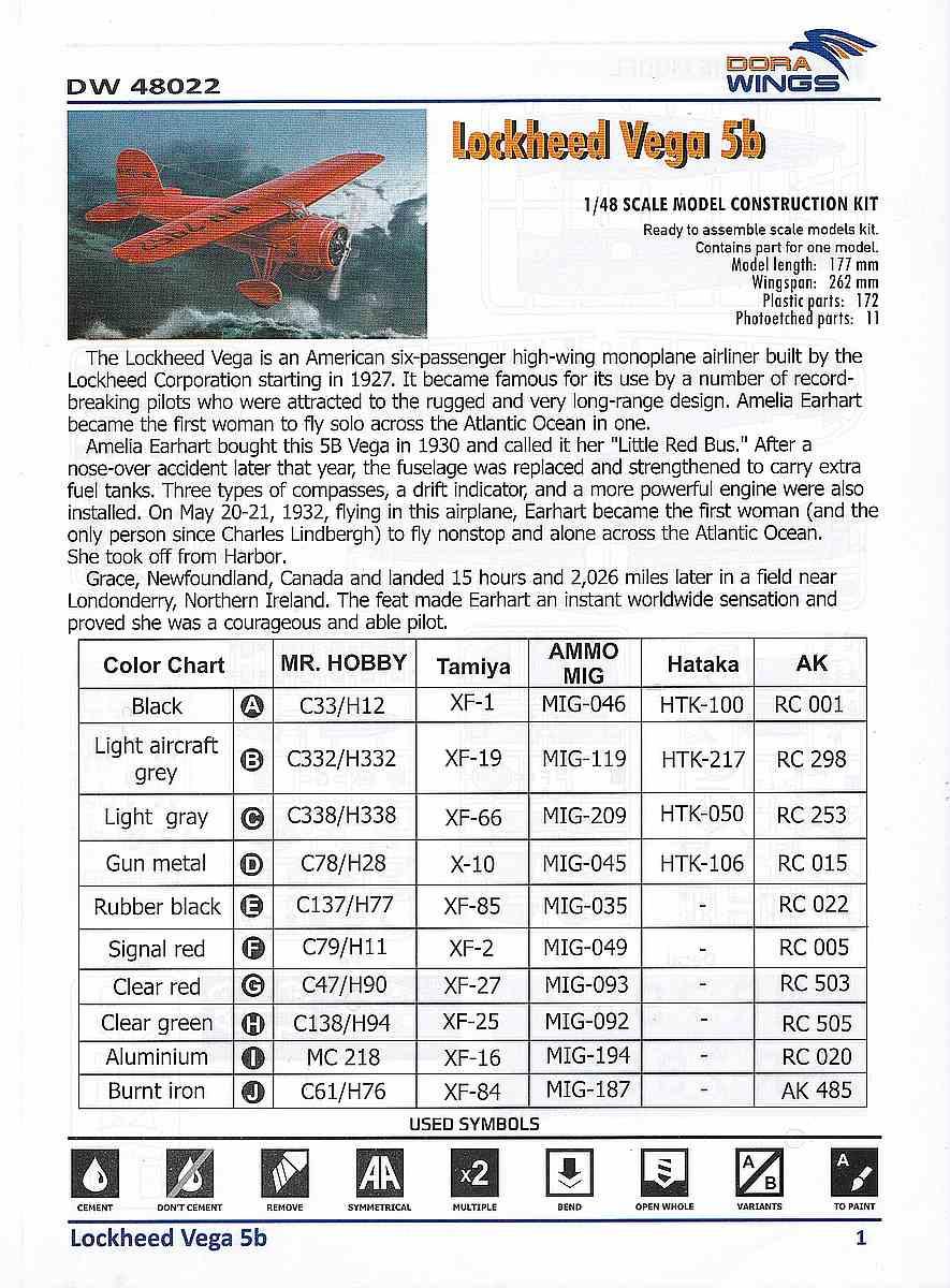 DoraWings-DW-48022-Lockheed-Vega-5b-Bauanleitung1 Lockheed Vega 5b in 1:48 von Dora Wings # DW 48022