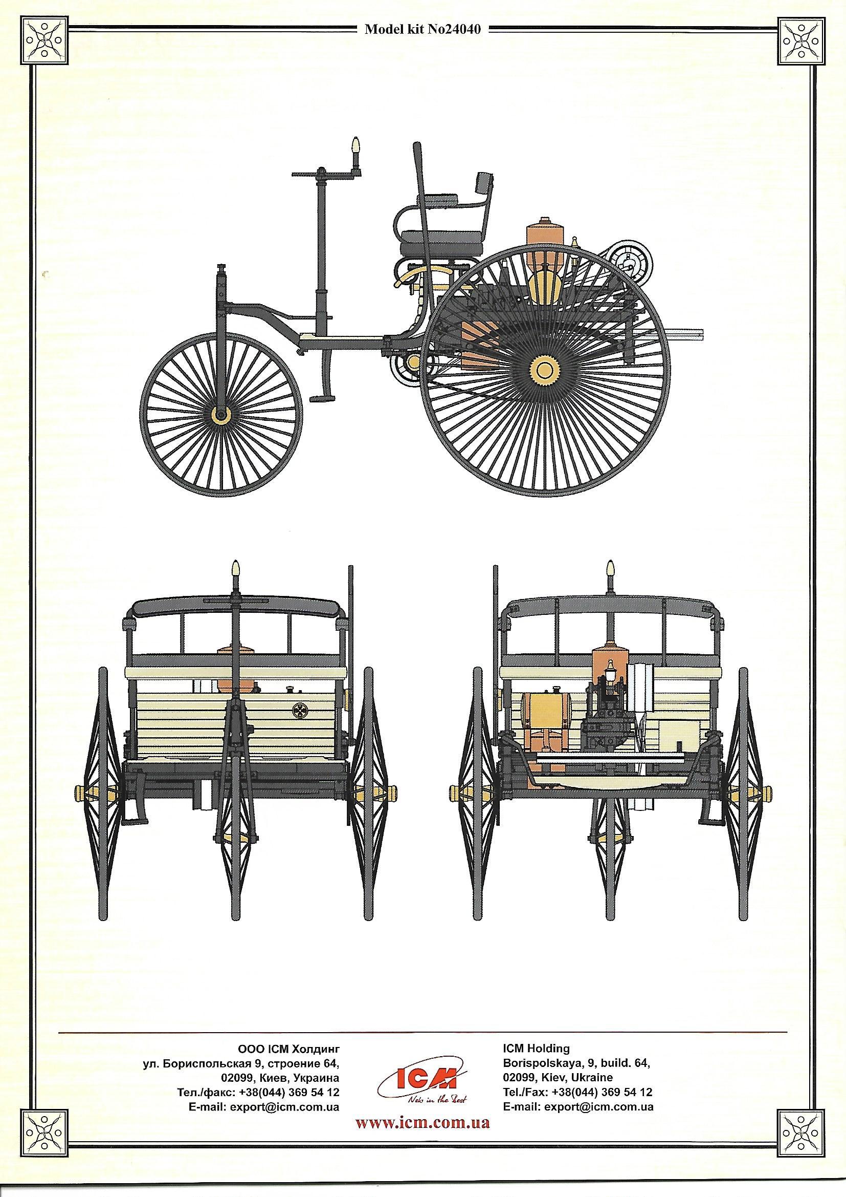 Motorbenz21 Benz Patent-Motorwagen in 1:24 von ICM #24040