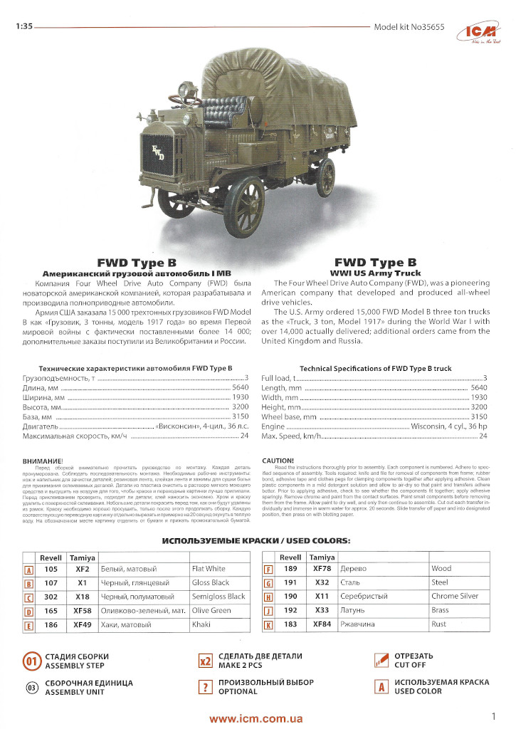 Anleitung01-2 WWI USA Army Truck FWD Type B 1:35 ICM (#35655)