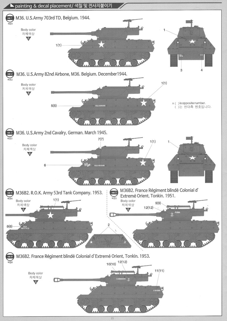 """Anleitung15-1 M36/M36B2 US Army """"Battle of the Bulge"""" 1:35 Academy (#13501)"""