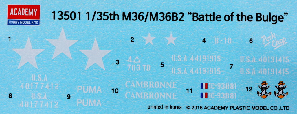 "Decals-3 M36/M36B2 US Army ""Battle of the Bulge"" 1:35 Academy (#13501)"