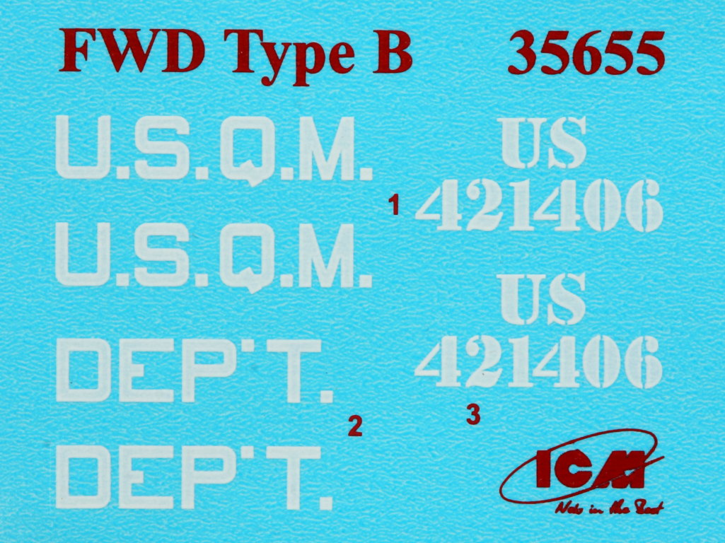 Decals-6 WWI USA Army Truck FWD Type B 1:35 ICM (#35655)