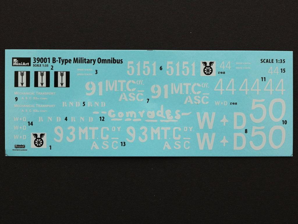 Decals-7 B-Type Military Omnibus 1:35 Miniart (#39001)