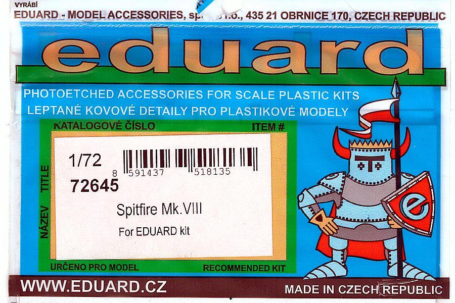 Eduard-72645-Spitfire-Mk-VIII-1 Detailsets für die Spitfire Mk. VIII in 1:72 von Eduard