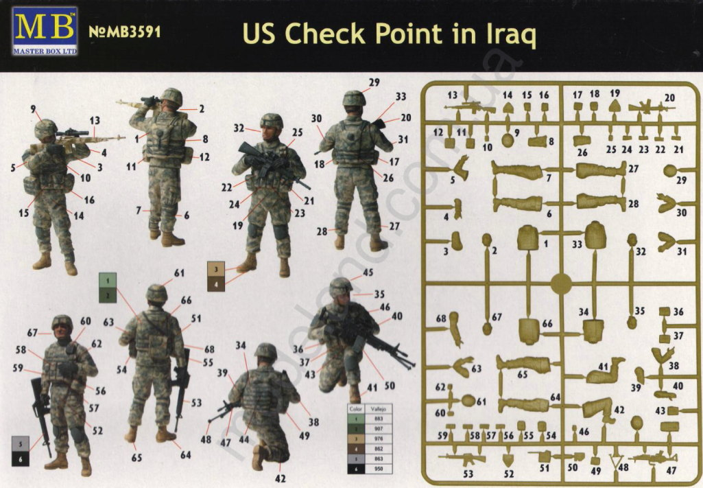 "Review_MB_Iraq_Check_Point_12 Figurenset ""US Checkpoint in Iraq"" - Master Box 1/35"