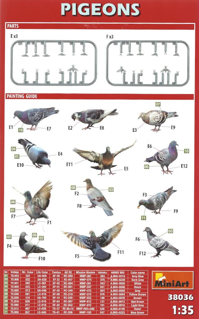 Anleitung Pidgeons (Tauben) 1:35 Miniart (#38036)