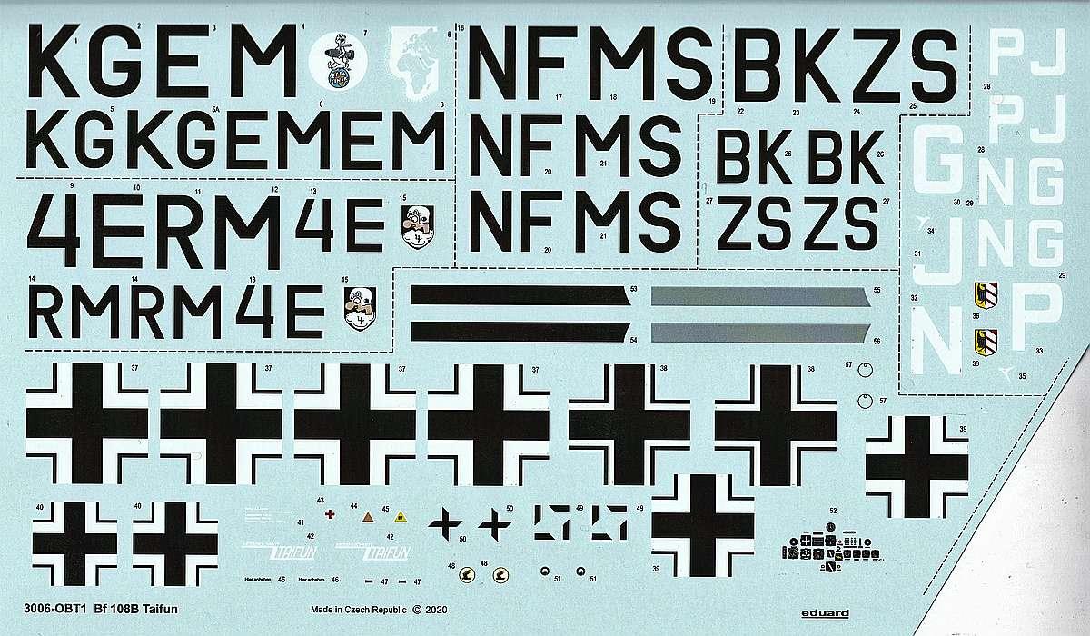 Eduard-3006-Bf-108-Taifun-Decals Messerschmitt Bf 108 Taifun in 1:32 von Eduard #3006