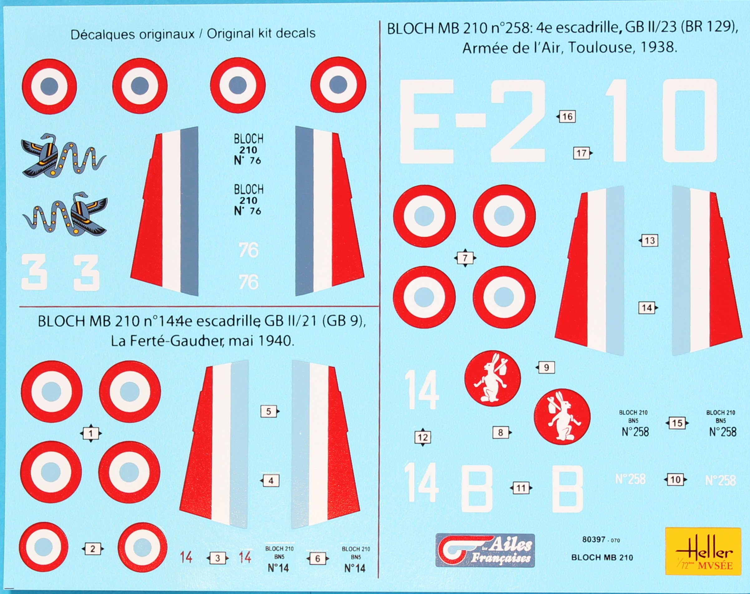 Heller-Bloch-210-Decals Kit-Archäologie: Bloch MB 210 in 1:72 von Heller
