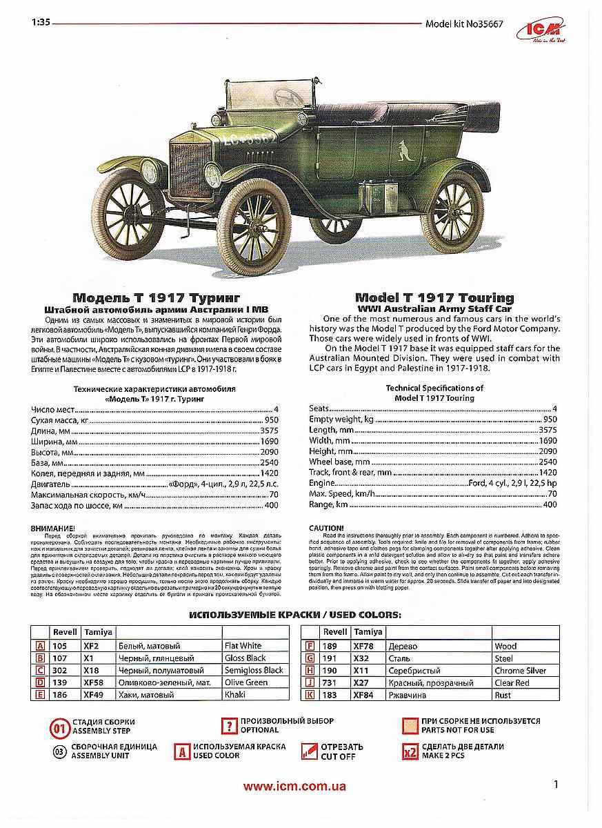 ICM-35667-Model-T-1917-Touring-Bauanleitung-Seite-1 WW I ANZAC Desert Patrol in 1:35 von ICM #DS 3510
