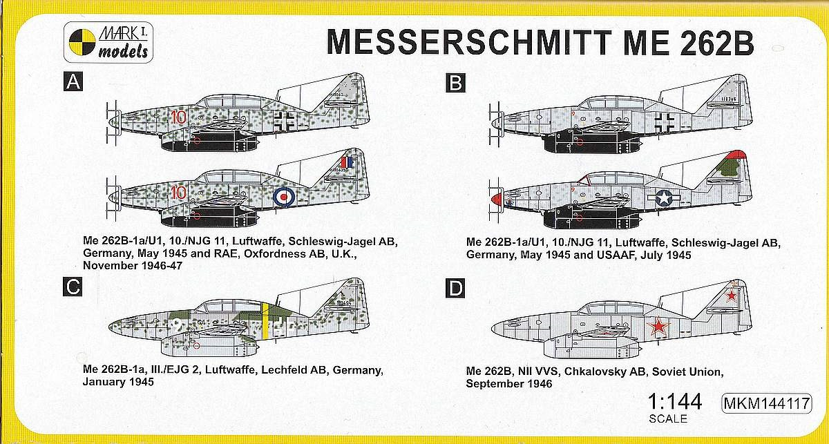 Mark-I-models-MKM144117-Me-262B-2 Messerschmitt Me 262B in 1:144 von Mark1Models #144117