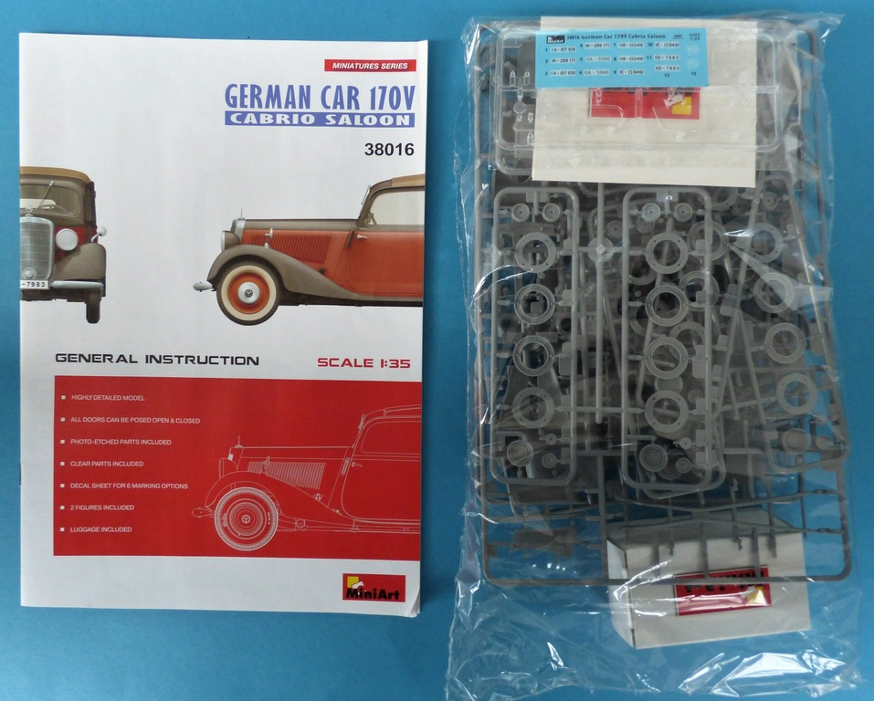 MiniArt-38016-German-Car-170V-Cabrio-2 Cabriolet Mercedes 170V in 1:35 von MiniArt #38016