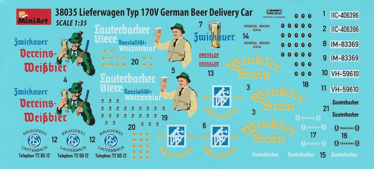 MiniArt-38035-Lieferwagen-Typ-170V-Beer-Delivery-32 Lieferwagen Typ 170V German Beer Delivery Car in 1:35 von MiniArt #38035